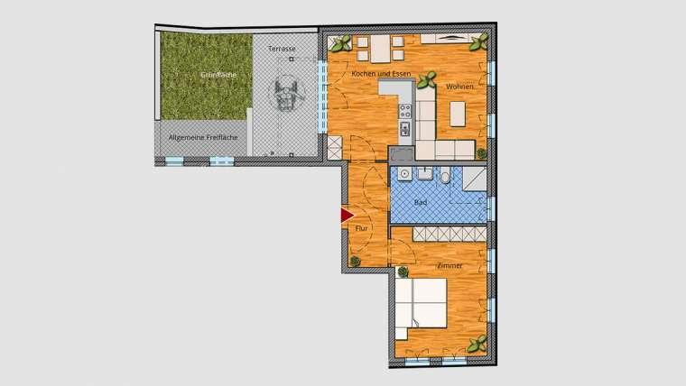 2-Raum-Wohnung im EG