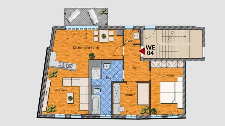 3-Raum-Wohnung im 1. OG