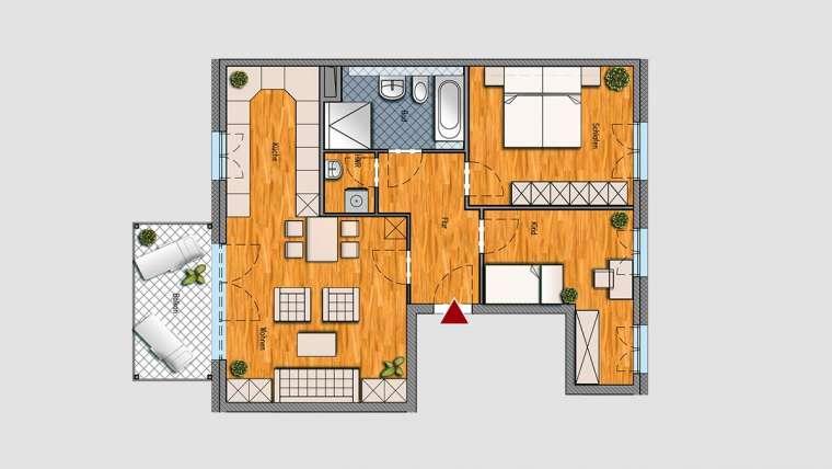 3-Raum-Wohnung im 2.OG