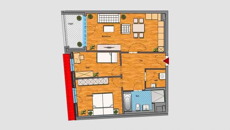 3-Raum-Wohnung im DG