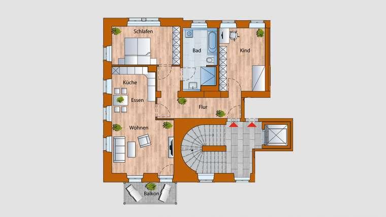 4-Raum-Wohnung im 2. OG