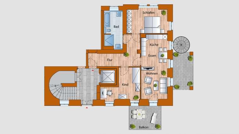4-Raum-Wohnung im EG